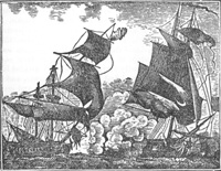 Pirate Thomas Tew attackes a ship from India